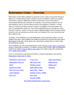 Redemption Codes Documentation (v1.0)
